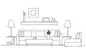 Sofa, chair,  lamp and table with  potted plant. Hand drawn vector illustration of a sketch style.