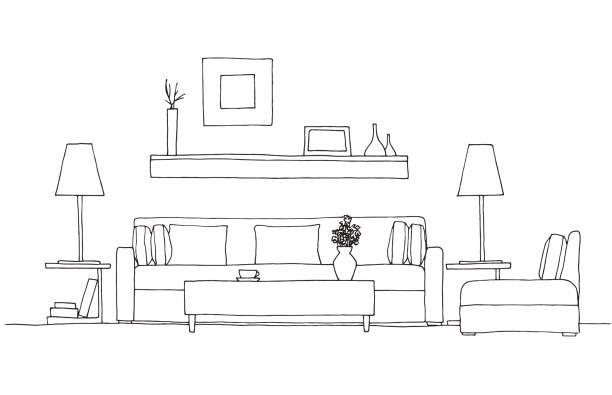 ソファ、椅子、ランプ、テーブル、鉢植えの植物。手描きスケッチ スタイルのベクトル図です。 - リビング点のイラスト素材/クリップアート素材/マンガ素材/アイコン素材