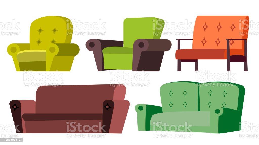 Sofa, Stuhl Set Vector. Home Möbel. Wohnzimmer. Isolierte Cartoon  Illustration Lizenzfreies Sofa