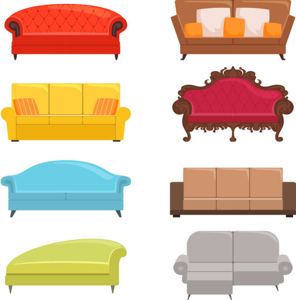 Sofa collection. Bed classic divan modern coach vector interior furniture Sofa collection. Bed classic divan modern coach vector interior furniture. Illustration of colored divan for interior, furniture sofa chaise longue stock illustrations