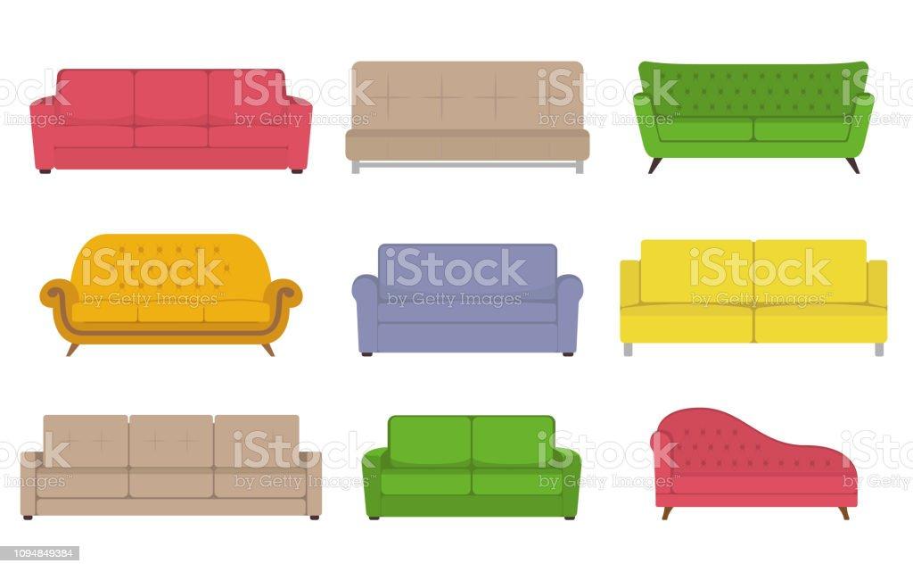 Sofa gekleurde vector set. Collectie van sofa illustratie. - Royalty-free Binnenopname vectorkunst
