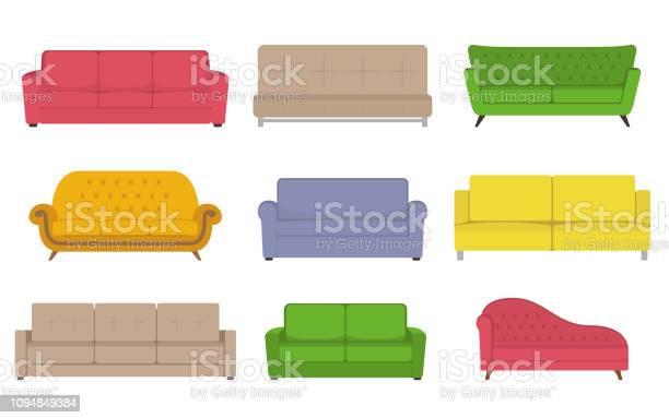 Sofa Gekleurde Vector Set Collectie Van Sofa Illustratie Stockvectorkunst en meer beelden van Binnenopname
