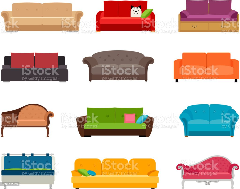 Sofa colored vector set. Comfortable couch collection isolated on white background for interior design vector art illustration