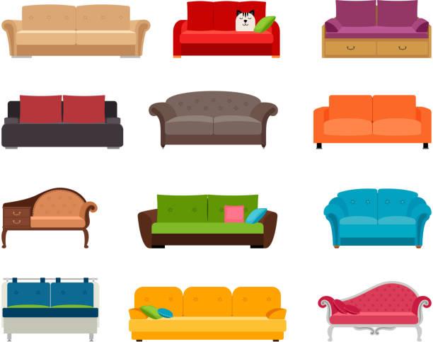 Sofa farbigen Vektor-Set. Gemütliche Couch Sammlung isoliert auf weißem Hintergrund für Interior design – Vektorgrafik
