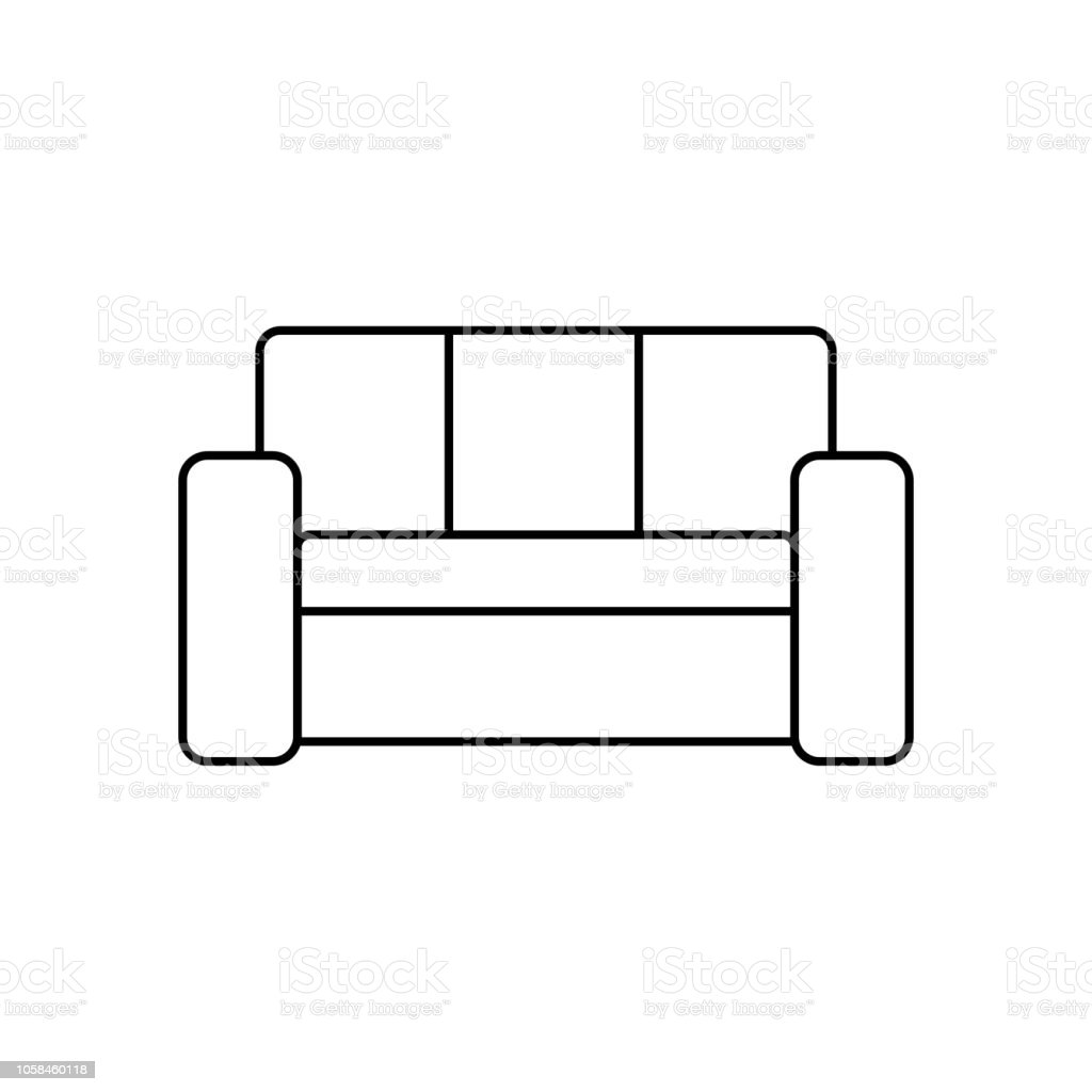 Sofa Couch Line Icon Outline Vector Sign Linear Style Pictogram