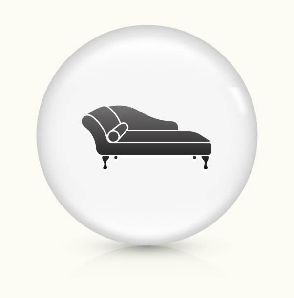 sofa tagesbett symbol auf einem weißen, runden vektor-button - funktionssofa stock-grafiken, -clipart, -cartoons und -symbole