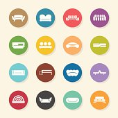 Sofa Design Icons Color Circle Series Vector EPS10 File.