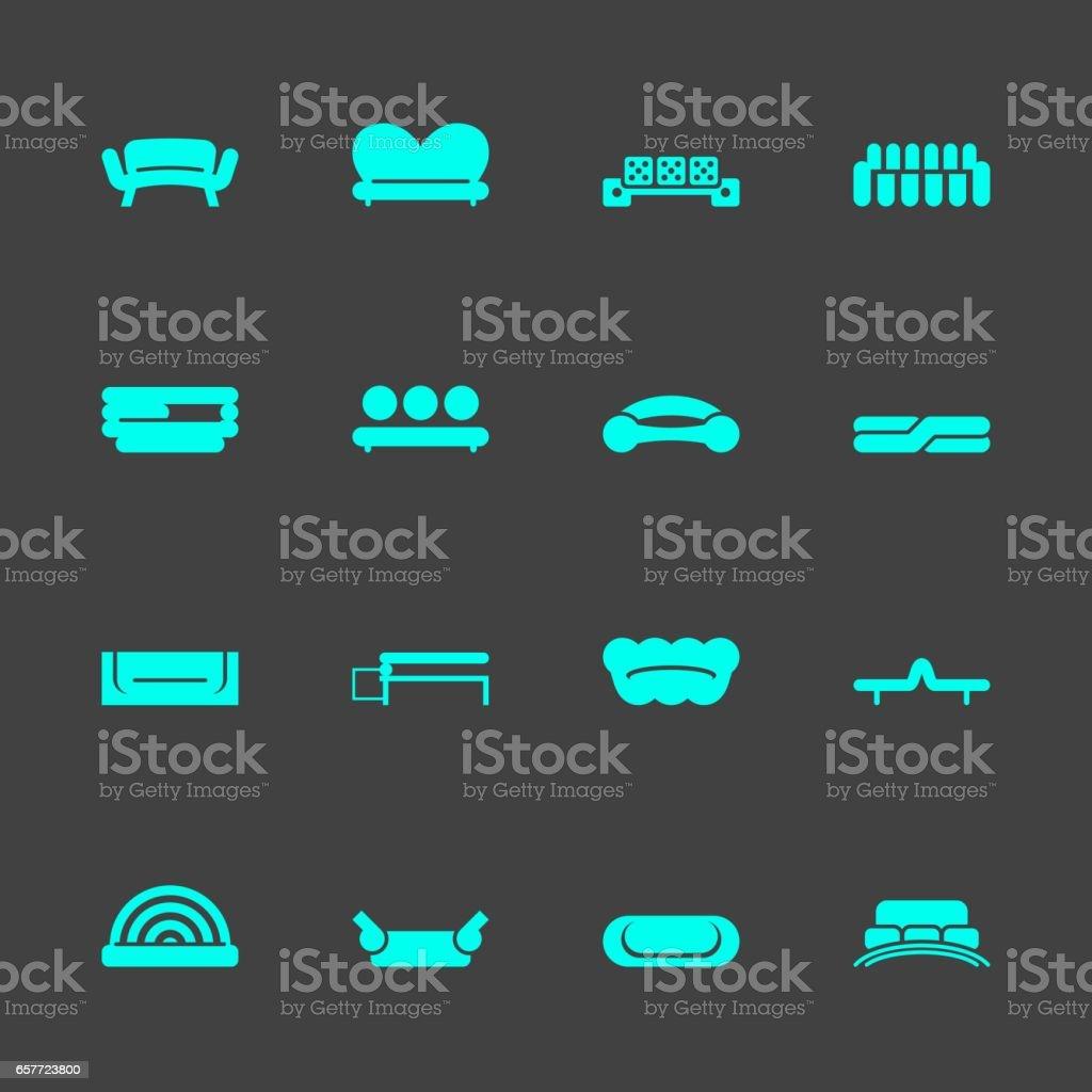 Sofa Design Icons vector art illustration