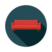 A flat design furniture icon with a long shadow. File is built in the CMYK color space for optimal printing. Color swatches are global so it's easy to change colors across the document.