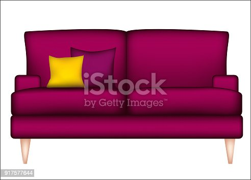 Sofa Furniture Pillows Burgundy Interior Design Stock Vector Art ...