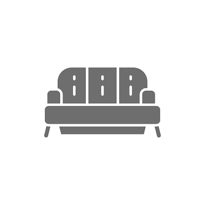 Sofa grey icon. Isolated on white background
