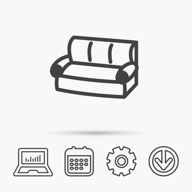 sofa-symbol. bequeme couch unterschreiben. - funktionssofa stock-grafiken, -clipart, -cartoons und -symbole