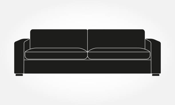 sofa-ikone. möbel für wohnzimmer. vektorabbildung des modernen sofas. - funktionssofa stock-grafiken, -clipart, -cartoons und -symbole