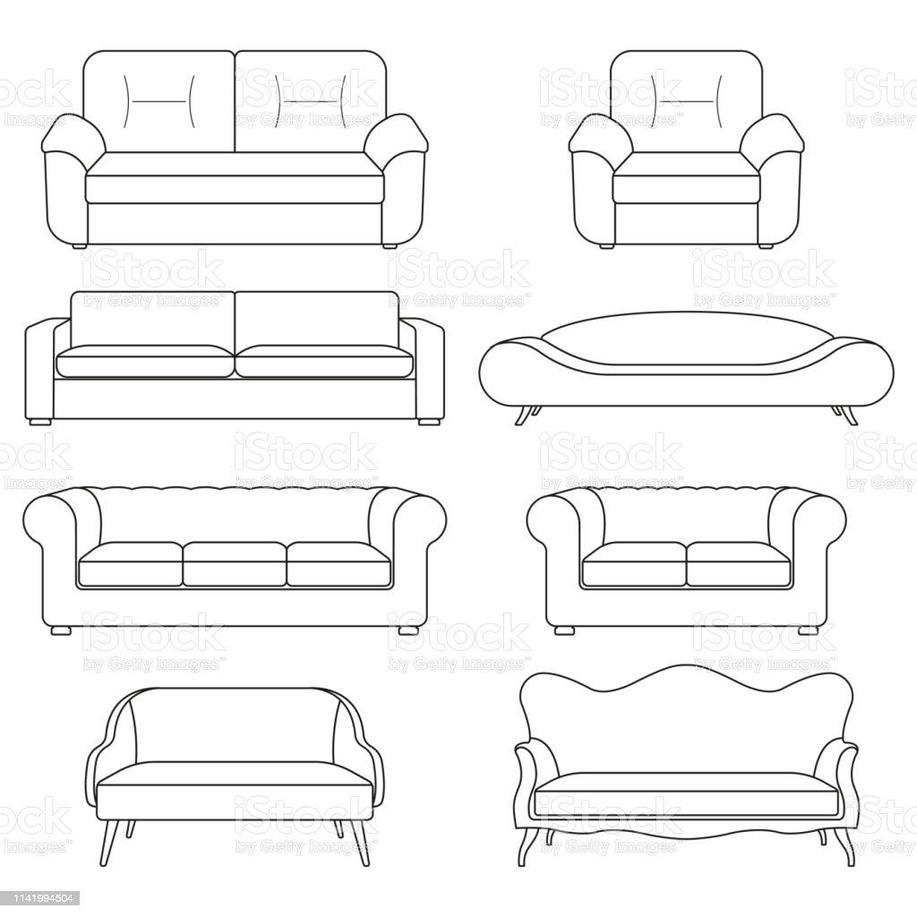 Terrific Sofa Icon Line Set Modern Vintage And Retro Sofa Collection Cjindustries Chair Design For Home Cjindustriesco