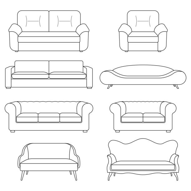 sofa-icon-line-set. moderne, vintage und retro-sofa-sammlung. möbel-symbole. vector illustration. - funktionssofa stock-grafiken, -clipart, -cartoons und -symbole