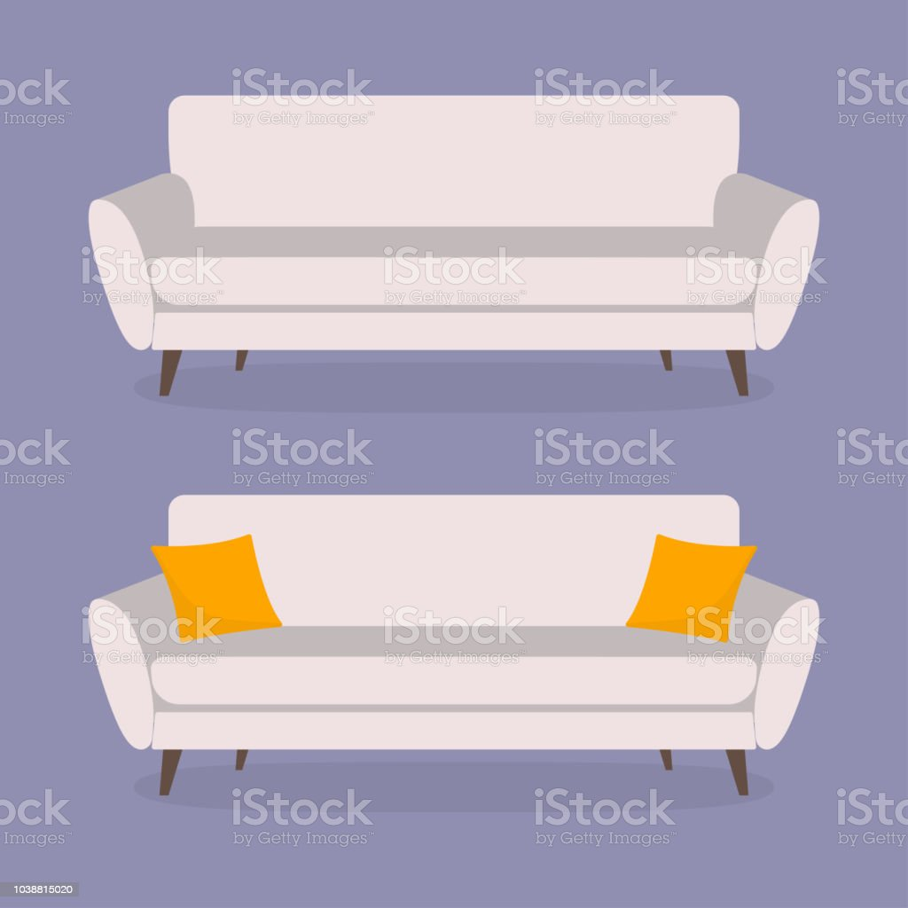 Vector Of Living Room Stock Vector Image Of Sofa: Sofa Icon Set Couch With Cushion Or Pillow Furniture For