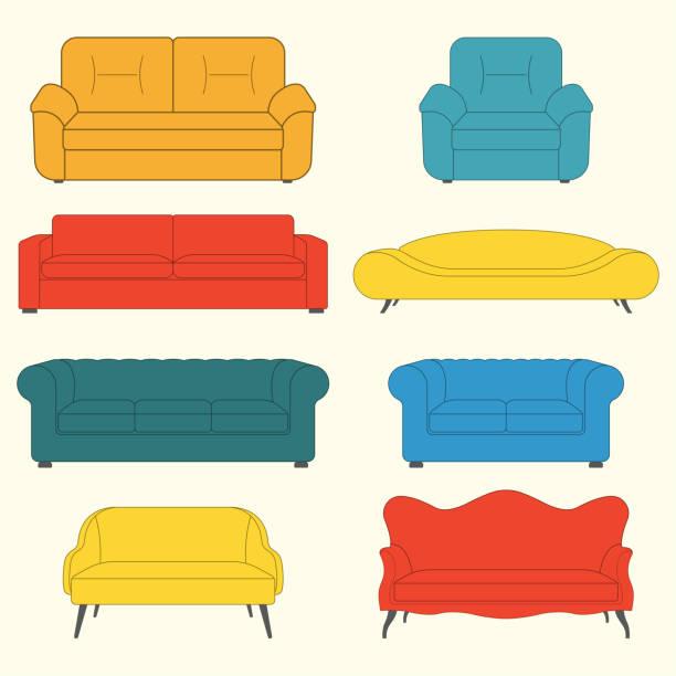 sofa-icon-set. möbelsymbole. moderne, vintage und retro-sofa-sammlung. bunte vektorillustration. - funktionssofa stock-grafiken, -clipart, -cartoons und -symbole