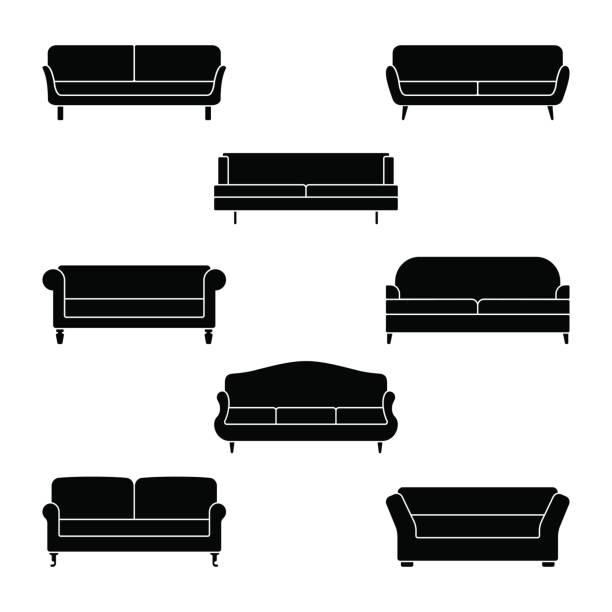 ソファのアイコンを設定します。白いソファ ピクトグラムのベクトル イラスト - ソファ点のイラスト素材/クリップアート素材/マンガ素材/アイコン素材