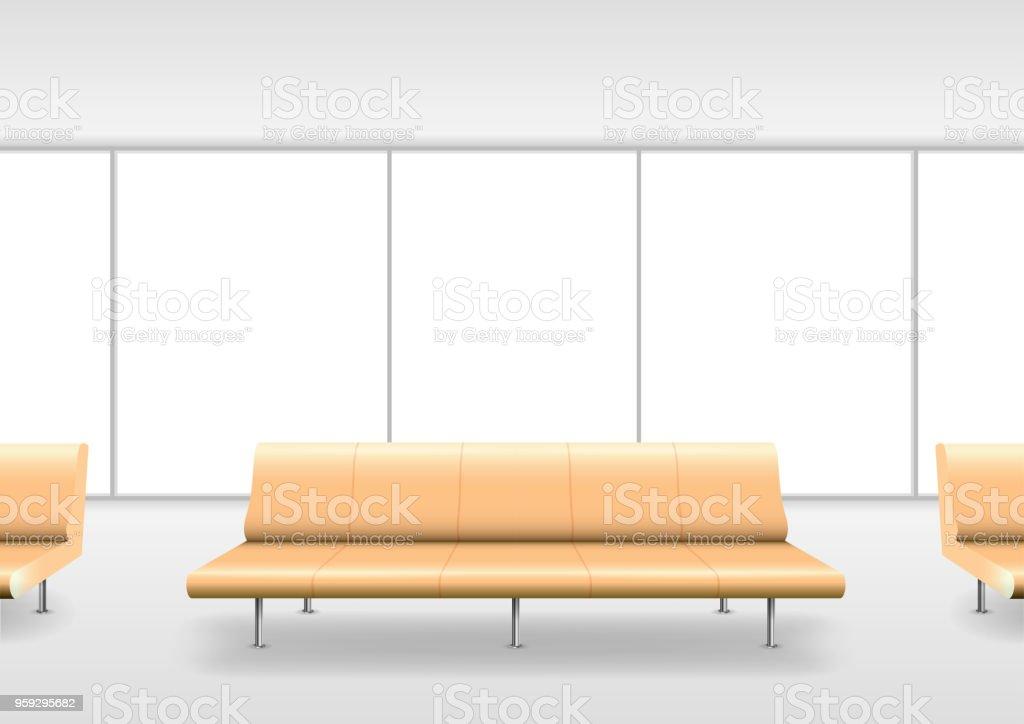 Sofa in the hall vector art illustration