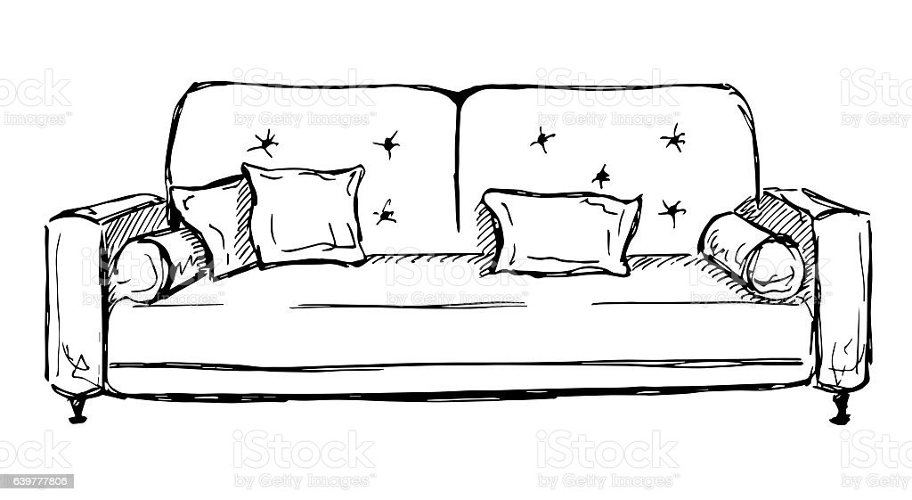 Sofa isolated on white background. vector art illustration