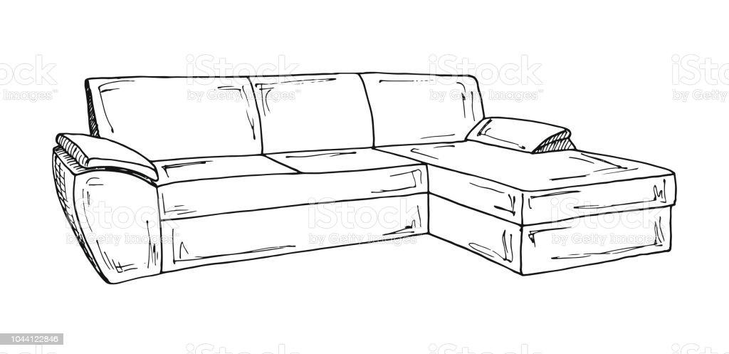 Canap isol sur fond blanc illustration vectorielle dans for Sofa zeichnen kinder