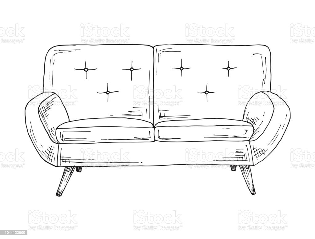 Sofa Isolated On White Background Vector Illustration In A Sketch