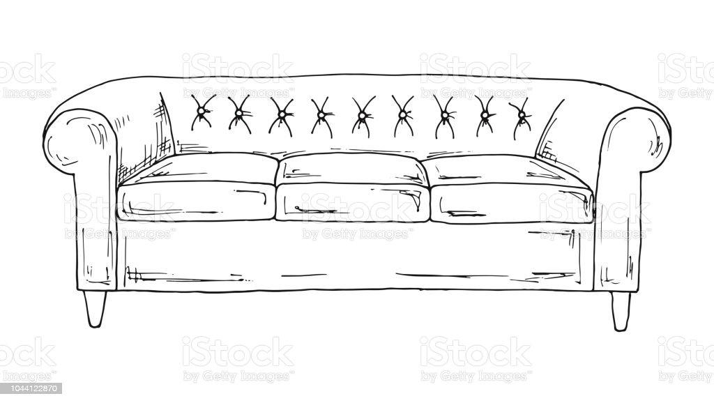 Sofa Isoliert Auf Weissem Hintergrund Vektorillustration In Einer