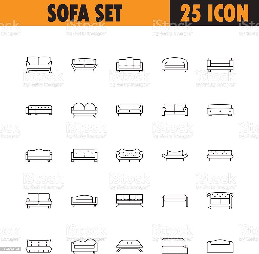 Sofa line icon set. vector art illustration