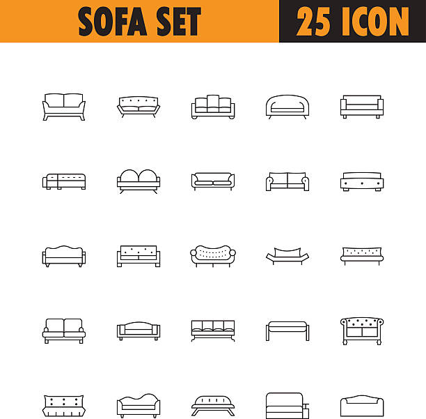 illustrations, cliparts, dessins animés et icônes de sofa line icon set. - canapé