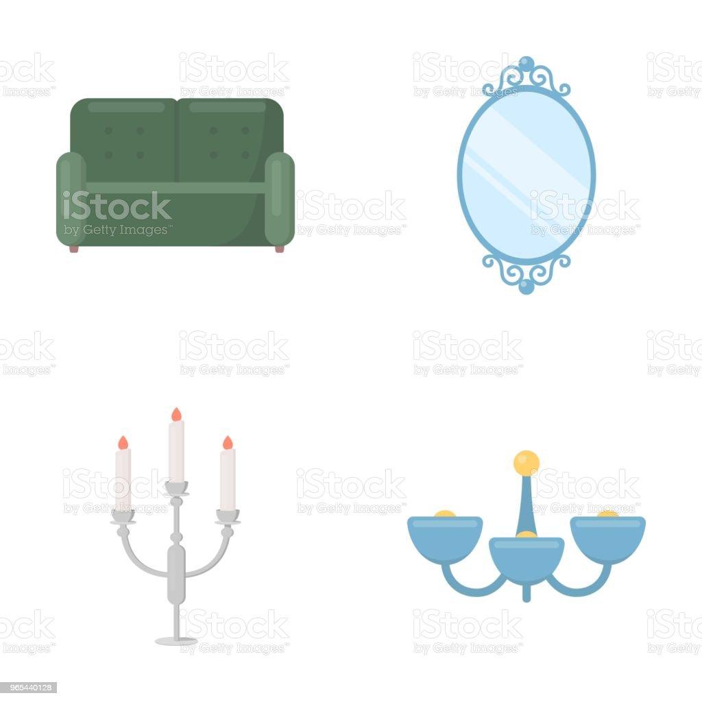 Sofa, lustro, świecznik, żyrandol. MebleFurniture ustawić ikony kolekcji w stylu kreskówki wektor symbol stockowy ilustracji internetowej. - Grafika wektorowa royalty-free (Akcesorium osobiste)