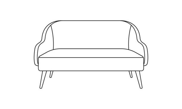 sofa oder sessellinie ikone. möbel für wohnzimmer. vector illustration. - funktionssofa stock-grafiken, -clipart, -cartoons und -symbole