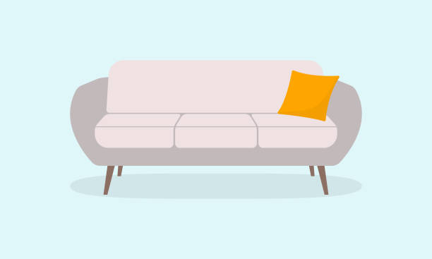 sofa or couch icon. furniture for lounge or living room. vector illustration. - hotel reception stock illustrations