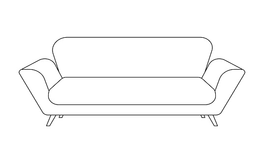 Sofa or couch line icon. Outline furniture for living room. Vector illustration.