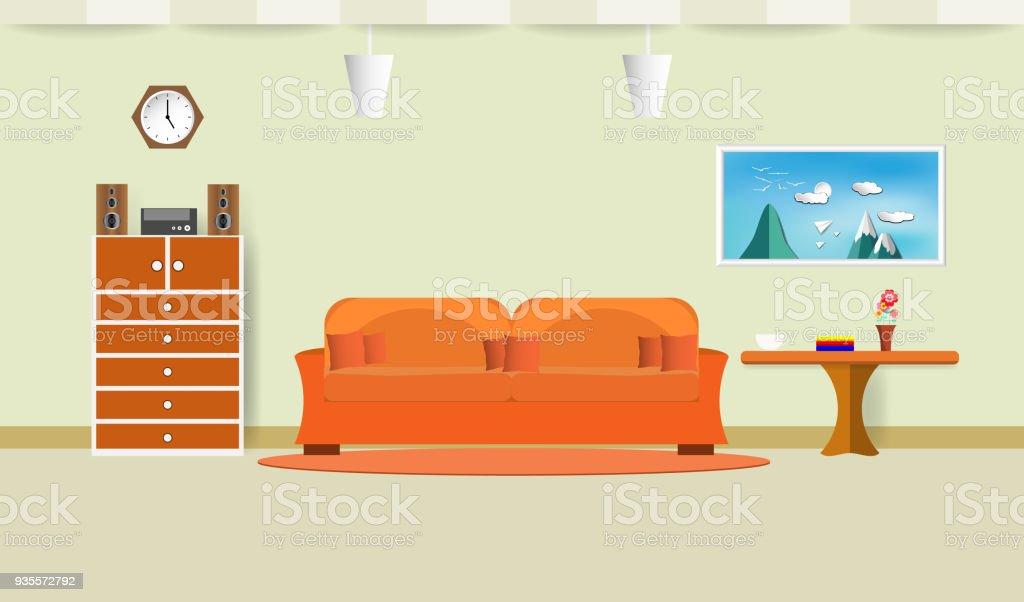 Sofa Orange Wohnzimmer Interieur Mit Kaffeetasse Auf Tisch Und ...