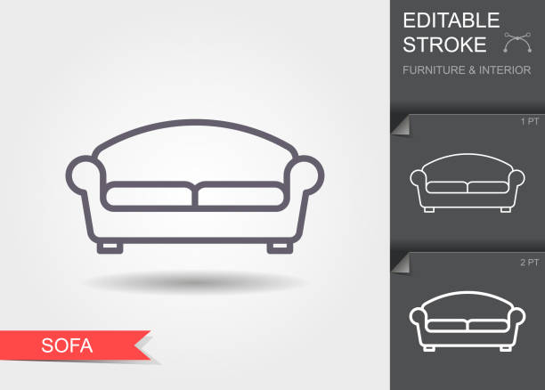 Sofa. Outline icon with editable stroke. Linear symbol of the furniture and interior with shadow Sofa. Outline icon with editable stroke. Linear symbol of the furniture and interior with shadow sofa stock illustrations