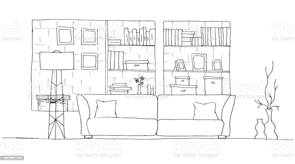 Sofa Shelves In The Wall And A Floor Lamp Hand Drawn Vector Illustration Of