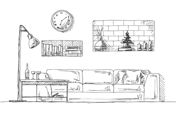 Sofa, shelves in the wall, table and floor lamp.  Hand drawn vector illustration of a sketch style. Sofa, shelves in the wall, table and floor lamp.  Hand drawn vector illustration of a sketch style. interior designer stock illustrations