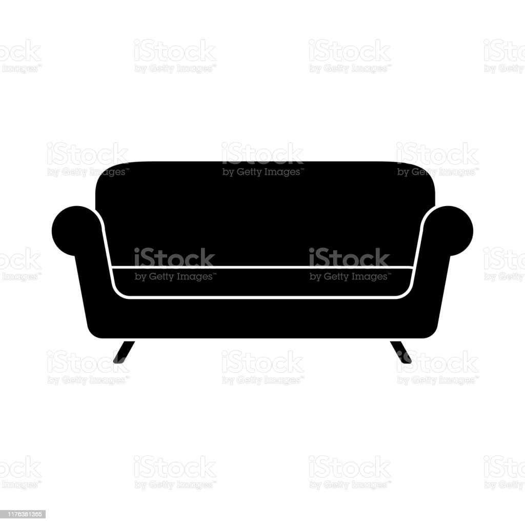 sofa eenvoudig icoon op witte achtergrond vector - Royalty-free Armstoel vectorkunst