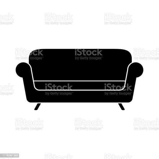 Sofa Eenvoudig Icoon Op Witte Achtergrond Vector Stockvectorkunst en meer beelden van Armstoel