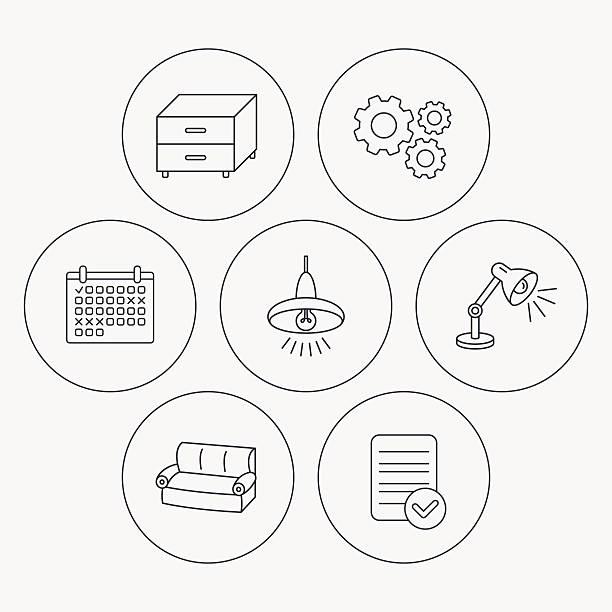 sofa, tisch, lampe und nachttisch-icons. - funktionssofa stock-grafiken, -clipart, -cartoons und -symbole