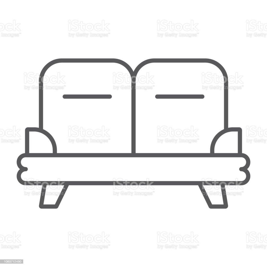 icône de fine ligne de canapé meubles et la maison canapé signe