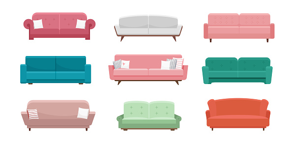 Sofa vector illustration set, cartoon flat design of furniture couch seats, modern cozy armchair in different color, furnished living room interior isolated on white