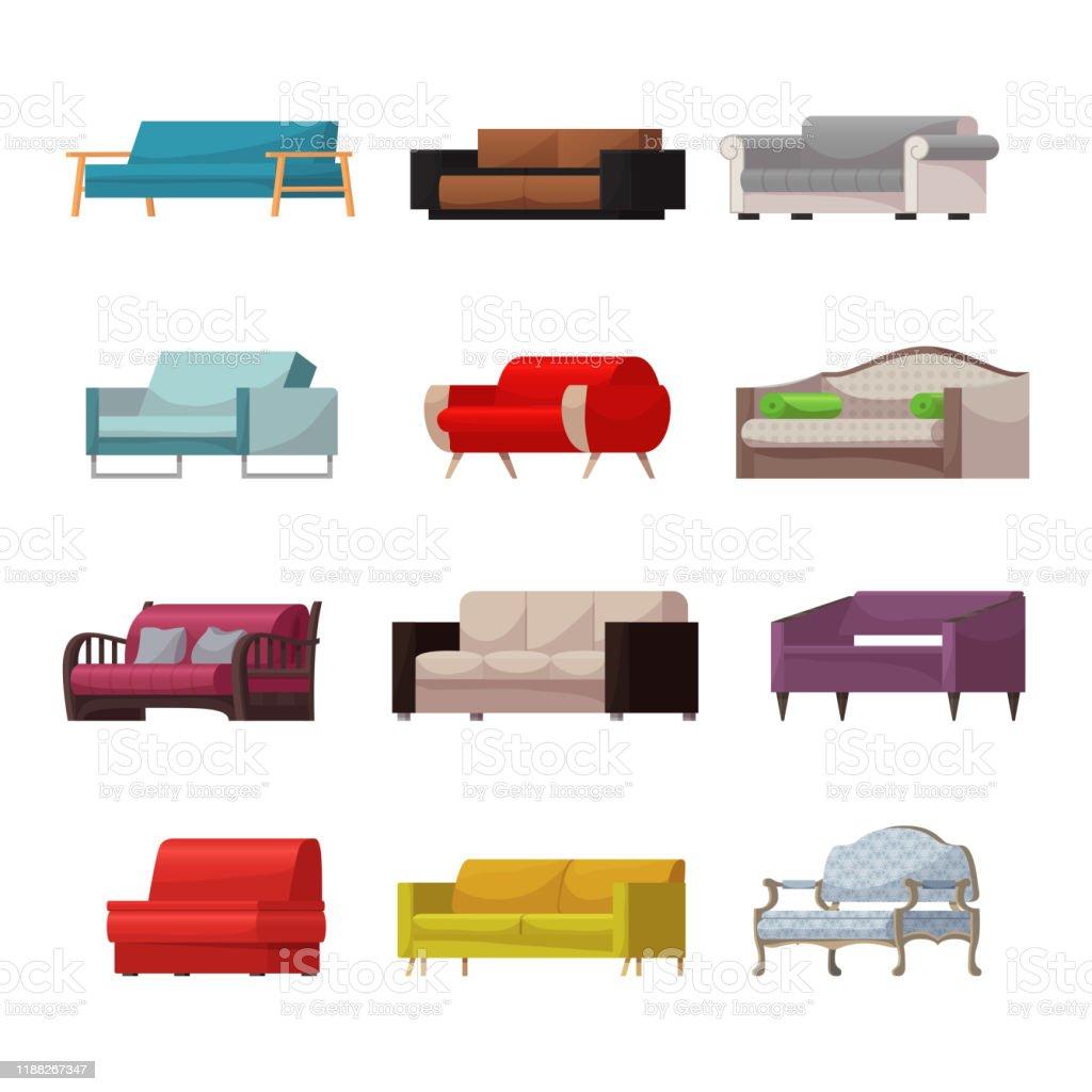 Fauteuil Design Huis En Inrichting.Sofa Vector Modern Meubilair Couch Zetel Gemeubileerd Interieur