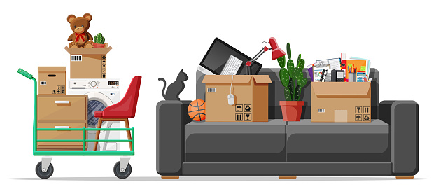 Sofa with cardboard boxes with household items