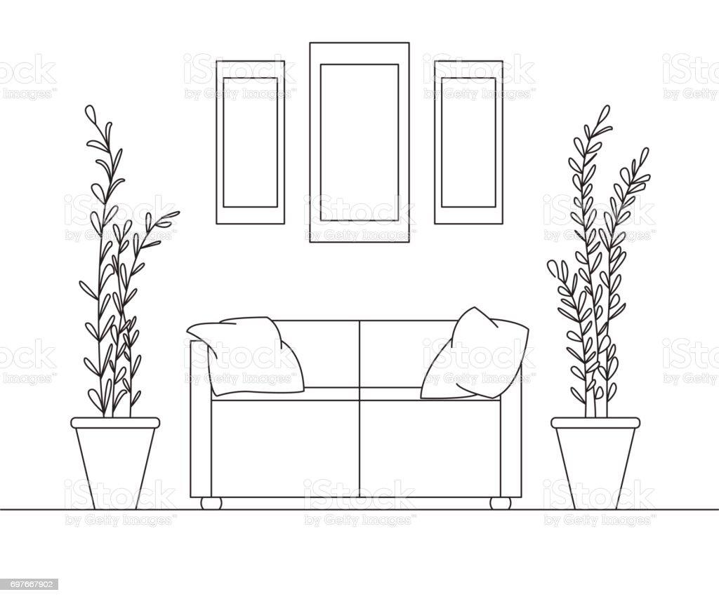 Sofa Größe sofa mit kissen auf den seiten große töpfe mit pflanzen über dem