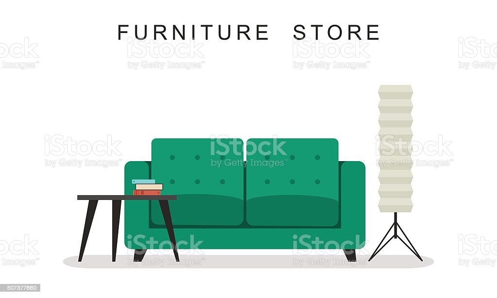 Sofa with table and lamp. vector art illustration