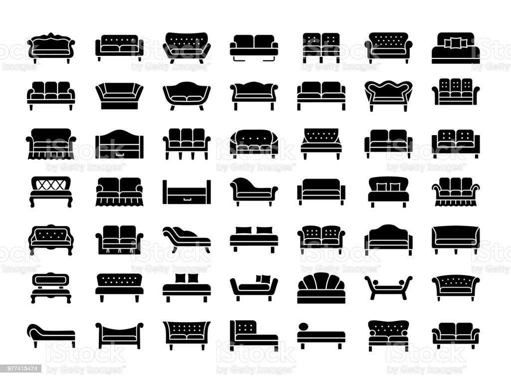 Ilustración de Sofás Y Sofás Sala De Estar Y Muebles De Patio Iconos ...