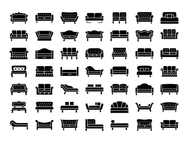 ソファ ・ ソファ。リビング ルーム ・ テラスの家具。ベクトルのアイコン。 - ソファ点のイラスト素材/クリップアート素材/マンガ素材/アイコン素材