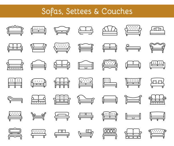 sofas & couches. living room & patio furniture. vector line icons. - living room stock illustrations, clip art, cartoons, & icons