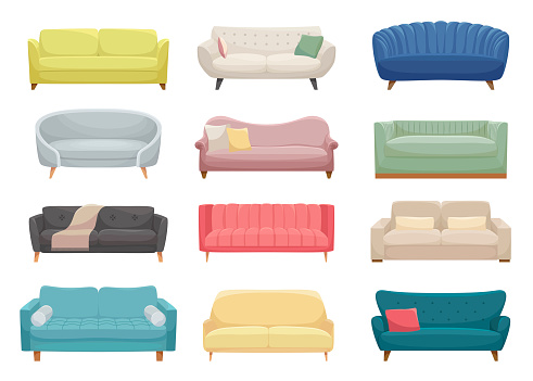Sofas, furniture pieces flat vector illustrations set. Modern and vintage interior items, couches and divans pack. Room furnishing, cartoon beds collection isolated on white background